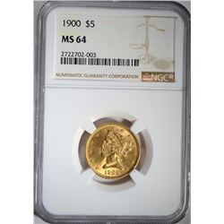 1900 $5.00 GOLD LIBERTY, NGC MS-64