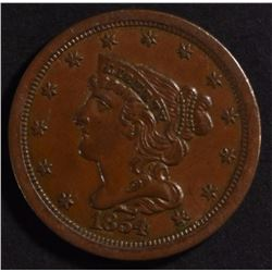 1854 HALF CENT GEM BU BROWN NICE