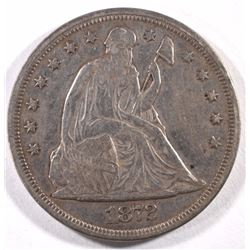 1872 SEATED DOLLAR XF-AU