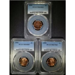 3-'95 LINCOLN 1C PCGS MS-65, 66, & 67-RD