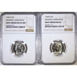 (2) 1944-D JEFFERSON NICKELS -MINT ERRORS NGC