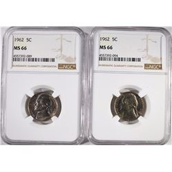 2-1962 JEFFERSON NICKELS, NGC MS-66