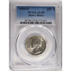 1934-D WASHINGTON QUARTER PCGS AU55
