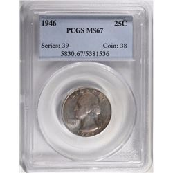 1946 WASHINGTON QUARTER PCGS MS67