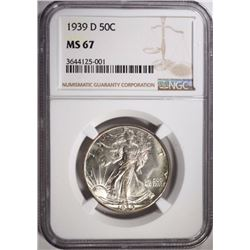 1939-D WALKING LIBERTY HALF DOLLAR NGC MS 67