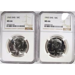 (2) 1965 SMS KENNEDY HALF DOLLARS, NGC MS-66