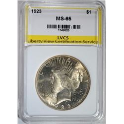 1923 PEACE DOLLAR LVCS GEM BU