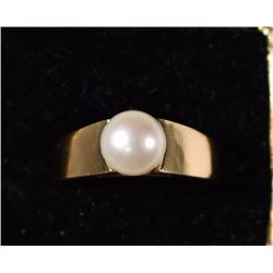 14k GOLD & PEARL RING - LOOKS NEW