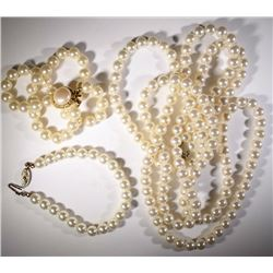 """48"""" PEARL LIKE BEADED NECKLACE plus"""