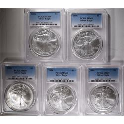 5-2006 AMERICAN SILVER EAGLES, NGC MS-79