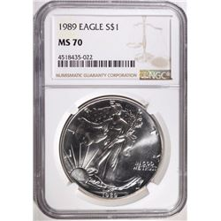 1989 AMERICAN SILVER EAGLE NGC MS70