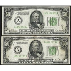 Lot of (2) 1928A $50 Federal Reserve Notes Boston