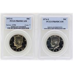 1973-S to 1974-S Kennedy Half Dollar Coins PCGS PR69DCAM