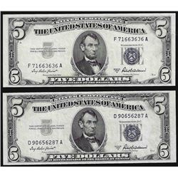 Lot of (2) 1953A $5 Silver Certificate Notes