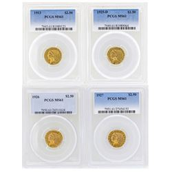 Lot of (4) $2 1/2 Indian Head Quarter Eagle Gold Coins PCGS MS61