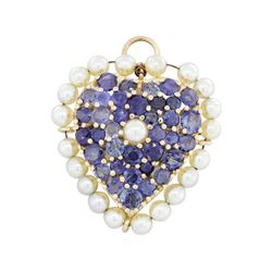 14KT Yellow Gold 6.48ctw Sapphire and Pearl Pin