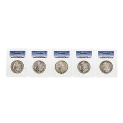 Lot of (5) Assorted New Orleans Mint $1 Morgan Silver Dollar Coins PCGS MS63