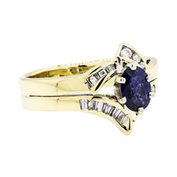 14KT Yellow Gold 1.01ct Sapphire and Diamond Ring