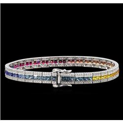 14KT White Gold 7.36ctw Multi Colored Sapphire and Diamond Bracelet