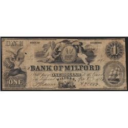 1853 $1 Bank of Milford Obsolete Note