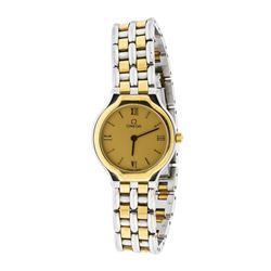 Ladies Omega Deville Quartz Stainless Steel & 18K Gold Wristwatch