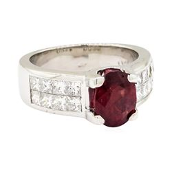Platinum 2.10ct Ruby and Diamond Ring