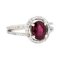 18KT White Gold 1.74ct Ruby and Diamond Ring