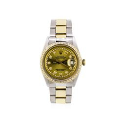 Mens Two-Tone Rolex Datejust Watch with 1.19ctw Diamond Bezel & Dial