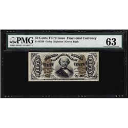 March 3, 1863 Fifty Cents Third Issue Fractional Note PMG Choice Uncirculated 63