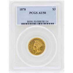 1878 $3 Indian Princess Head Gold Coin PCGS AU50