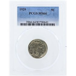 1929 Buffalo Nickel Coin PCGS MS64