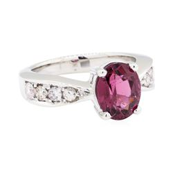 14KT White Gold 1.25ct Rubellite and Diamond Ring