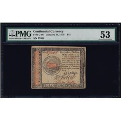 January 14, 1779 $45 Continental Currency Note PMG About Uncirculated 53