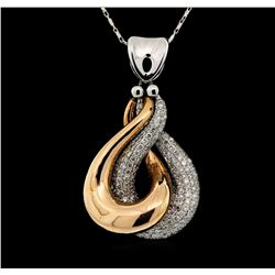 14KT Two Tone Gold 1.20ctw Diamond Pendant with Chain
