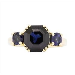 14KT Yellow Gold Ladies 5.50ctw Blue Sapphire Ring