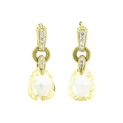 18KT Yellow Gold 4.50ctw Yellow Topaz and Diamond Earrings