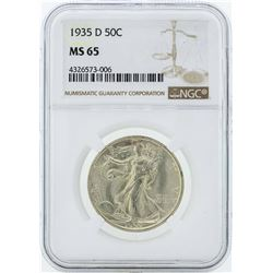 1935-D Walking Liberty Half Dollar Coin NGC MS65