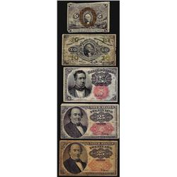 Lot of (5) Miscellaneous Fractional Currency Notes