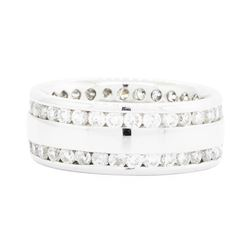 14KT White Gold Ladies 2.10ctw Diamond Double Eternity Ring