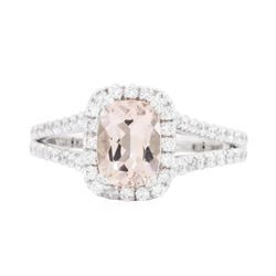14KT White Gold 1.21ct Morganite and Diamond Ring