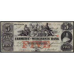 1852 $5 Farmers & Merchants Bank Obsolete Bank Note