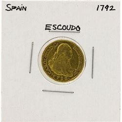 1792 Charles IV Spanish Escudo Gold Coin