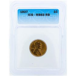 1927 Lincoln Wheat Penny ICG MS63RB