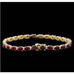 14KT Yellow Gold 11.35ctw Ruby and Diamond Bracelet