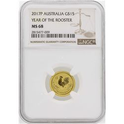2017-P Australia Year Of The Rooster 1/10oz Gold Coin  NGC MS68