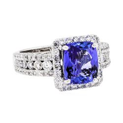 Platinum 3.53ct Tanzanite and Diamond Ring