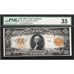 1922 $20 Gold Certificate Note Fr.1187 PMG Choice Very Fine 35