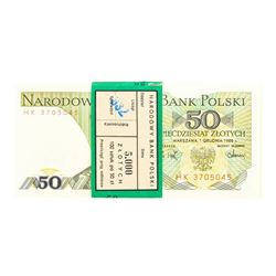 Pack of (100) Poland 50 Zlotych Uncirculated Notes