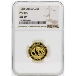 1988 China 25 Yuan Panda Gold Coin NGC MS69