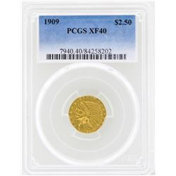 1909 $2 1/2 Indian Head Quarter Eagle Gold Coin PCGS XF40